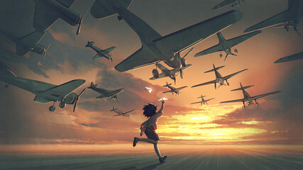 Foto auf Acrylglas Grandfailure the boy plays paper airplanes and looking at planes flying in the sunset sky, digital art style, illustration painting
