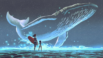 Foto auf Acrylglas Grandfailure mother and daughter looking at the whale with blue light flying in the night sky, digital art style, illustration painting
