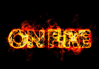 Realistic Burning Fire Text Effect Mockup