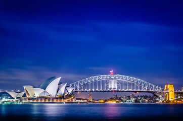 Sydney Opera House and the Sydney Harbour Bridge during twilight, Australia