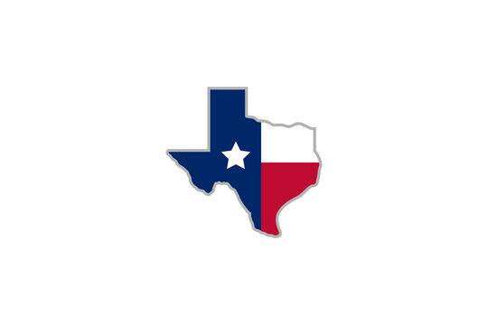 Texas star logo design . abstract texas map with flag ideas . vector illustration
