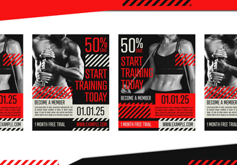 Social Media Post Fitness Studio Promotion Layout