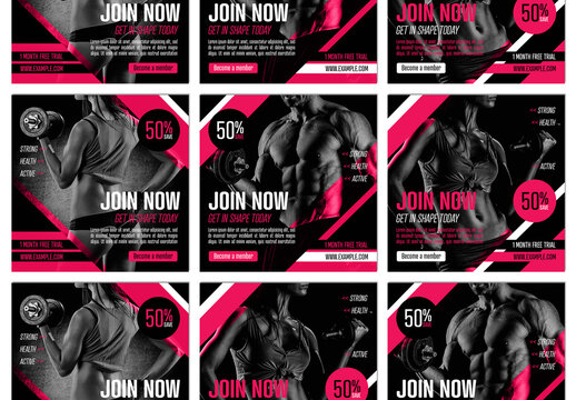 Set of Gym Fitness Social Media Post Square Layouts