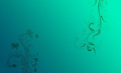 Hintergrund grün türkis Ornament floral hell dunkel pastell Ranken Design Layout Vorlage Untergrund leuchten schimmern hell Frühling Sommer Symbol Blumen Flora zeitlos schön elegant Schmetterlinge