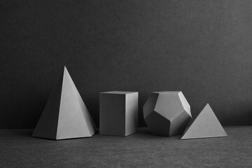 Platonic solids figures geometry. Abstract geometrical figures still life composition....