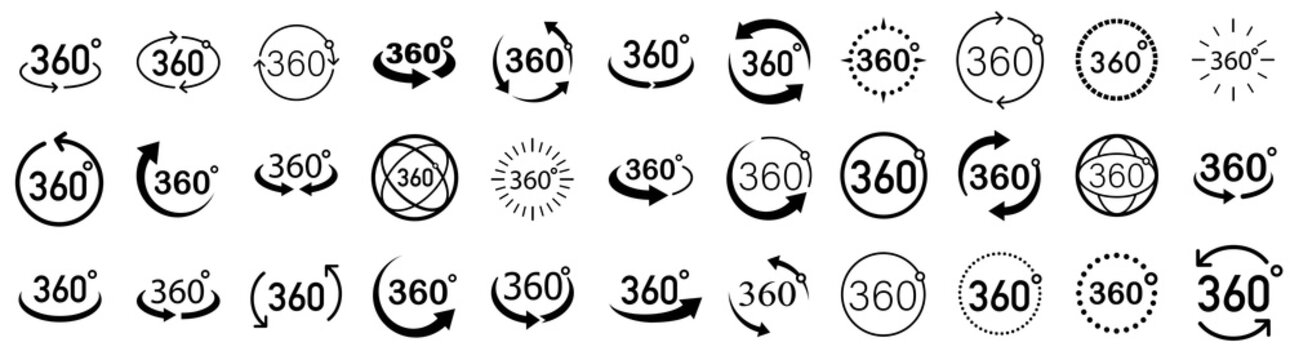 360 Degrees View Vector set. Signs with arrows to indicate the rotation or panoramas to 360 degrees. Vector icon symbol. Vector illustration.