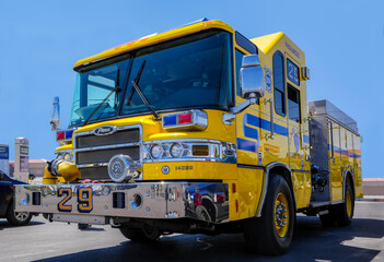 Fire engine of the Clark County Department parked in the street in Las Vegas