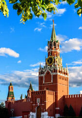 Fototapete - Moscow Kremlin on old Red Square in summer, Moscow, Russia