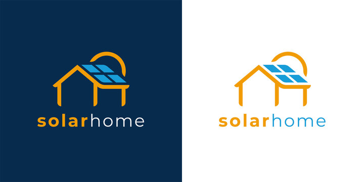 Solar power home logo icon template. Solar panel on roof with house and sun sign. Alternative energy company emblem. Renewable electricity business symbol. Vector illustration.