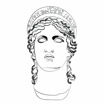 Vector linear illustration of an antique god. An isolated image of the goddess of family and marriage Hera. The nature of ancient Roman mythology.