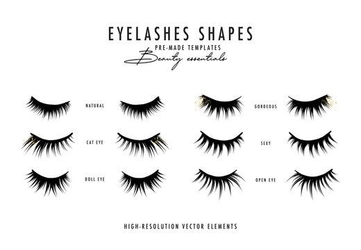 Eyelash extension vector illustration.Beauty faux  long eye lash procedure, woman treatment, girl face extention, makeup cosmetics poster with lashes shapes. Trendy glamotous lash kit