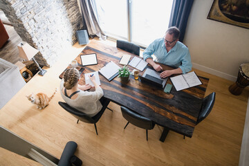 Father and daughter working at studying from home at dining table