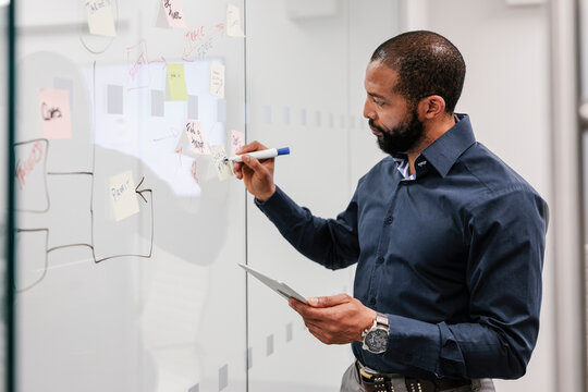 Man holding tablet writing on sticky notes