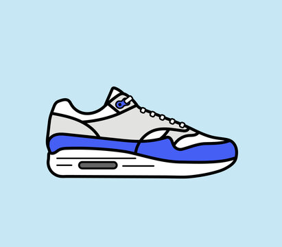 Modern air chamber style sneaker/trainer. Vector illustration. Blue, grey and white
