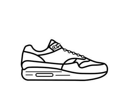 Modern air chamber style sneaker/trainer. Vector illustration. Black and white