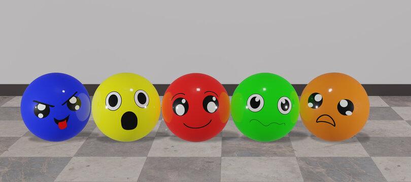 Bunte Emoticons in verschiedenen Stimmungen mit Hintergrund