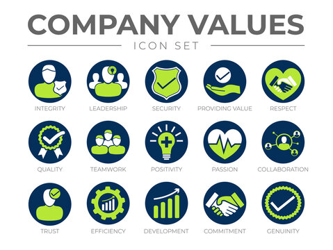 Company Core Values Round Icon Set. Integrity, Leadership, Security, Providing Value, Respect, Quality, Teamwork, Positivity, Passion, Collaboration, Trust, Efficiency,  Commitment, Genuinity Icons.