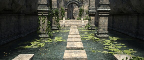 Wall Murals Khaki A pool with water lilies and stone steps in the old temple. Photorealistic 3D illustration. Beautiful authentic landscape.
