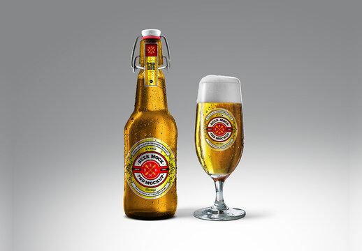 Cold Beer Golden Bottle & Glassware Goblet Mockup