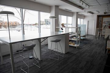 Work space in modern office interior