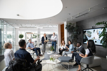 Business colleagues meeting in modern office