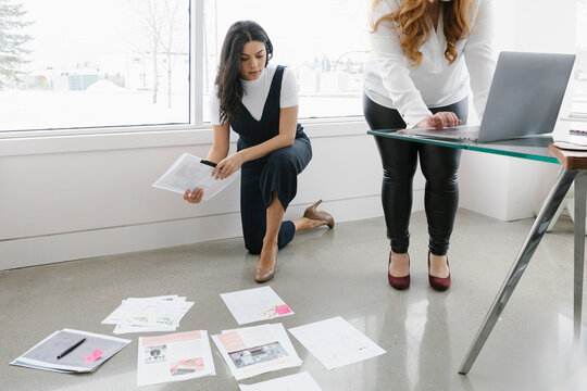 Women looking at documents on floor