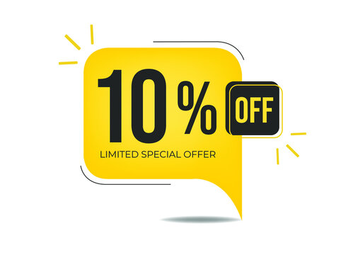 10% off limited special offer. Banner with ten percent discount on a yellow square balloon.