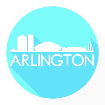 Arlington Texas Flat Icon Skyline Silhouette Design City Vector Art Famous Buildings.
