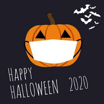 illustration vector graphic of happy halloween 2020 with a pumpkin wear white mask. Perfect for your poster, etc