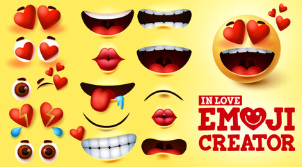 Emoji smiley in love vector creator set. Smiley emojis kit with hearts and in love face with editable facial expression for emoticon design and symbol element. Vector illustration