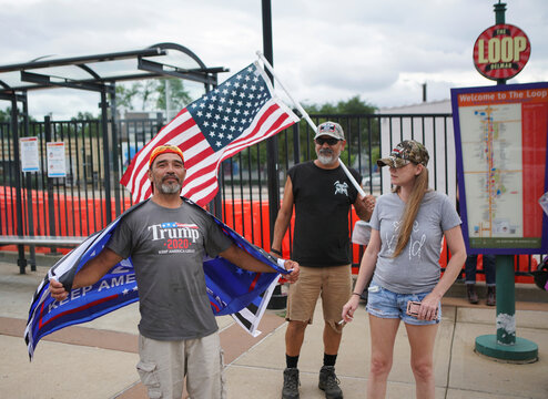 Trump supporters meet in the Delmar Loop during a protest in St. Louis