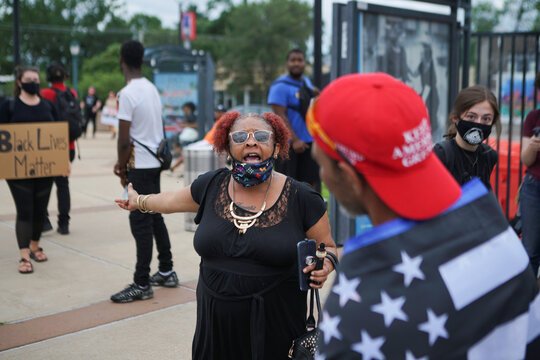 Trump supporters meet during a protest in St. Louis