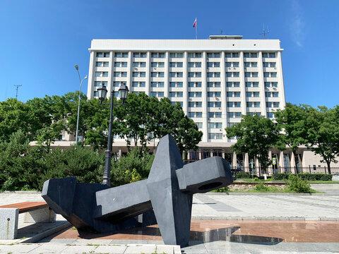 Vladivostok, Russia,  July, 13, 2020. The building of the Pacific fleet management and headquarters on  Korabelnaya embankment in Vladivostok in summer