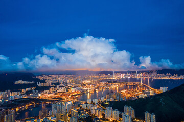 Wall Mural - Epic night view of Tsuen Wan, West side of Hong Kong, aerial view