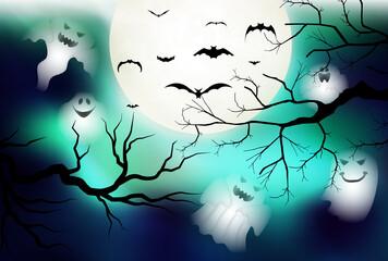 ハロウィン 月 幽霊 背景