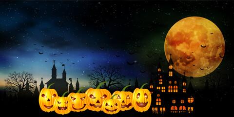 ハロウィン かぼちゃ 月 背景