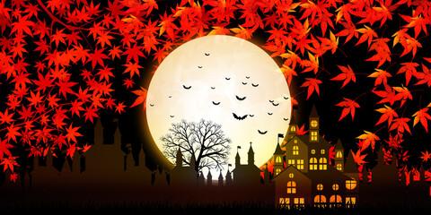 ハロウィン 城 紅葉 背景