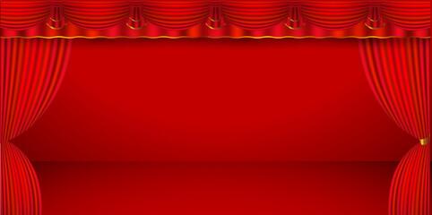 カーテン 幕 赤 背景