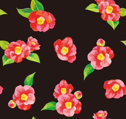 Seamless pattern of camellia flowers, with black background