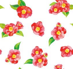 Seamless pattern of camellia flowers, with white background