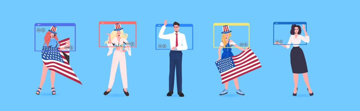 set people with usa flags celebrating 4th of july independence day celebration concept men women in web browser windows full length horizontal vector illustration