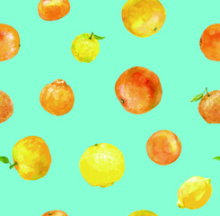 Seamless pattern of various citrus fruits produced in Seto Inland Sea area, with blue background