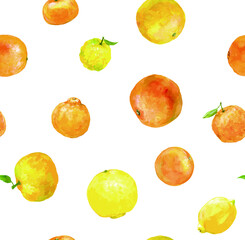 Seamless pattern of various citrus fruits produced in Seto Inland Sea area, with white background