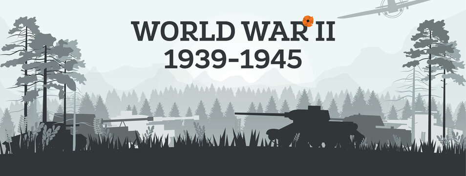 World War II 1939-1945. Military Concept with Tanks in Forest. Theater of War.