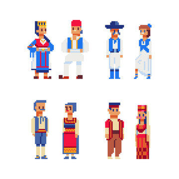 People characters in national dress traditional clothes of different countries pixel art icon. Folk costumes isolated vector illustration. Game assets 8-bit sprite sheet. Design magnets, stickers, app