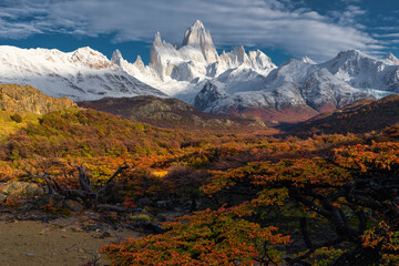 Printed roller blinds Roe White snow cover Fitz Roy Mountain in autumn, Patagonia, Argentina.