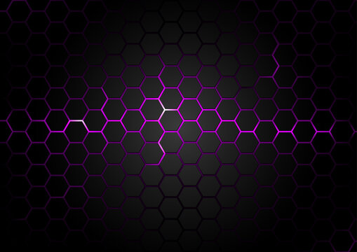 Black Hexagonal Pattern on Purple Magma Background - Abstract Illustration with Glowing Effects, Vector