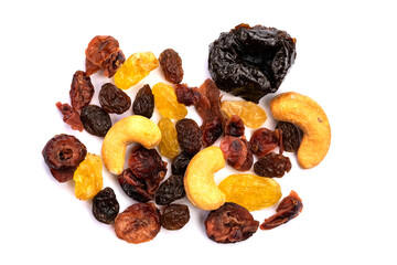 Fototapete - Top view of different kinds of mixed dried fruit on white background.