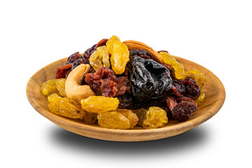 Fototapete - Various dried fruit in a wooden plate on white background with clipping path.