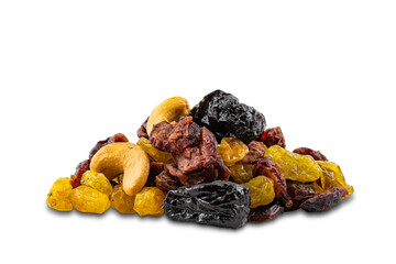 Fototapete - Pile of mixed various dried fruit on white background with clipping path.
